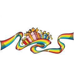 Rainbow giftwrap vector
