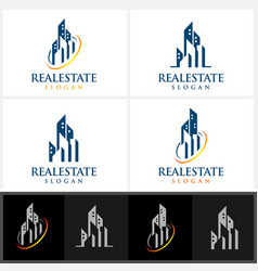 Real estate logo design with home building vector