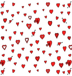 Red Love Heart Padlock Pattern Doodle Background vector image vector image