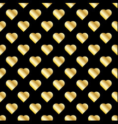 Seamless pattern of gold hearts on black vector