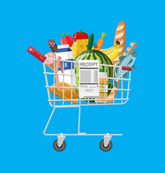 shopping cart full of groceries and receipt vector image vector image