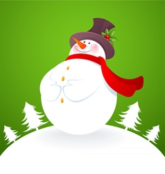 snowman in green vector image vector image