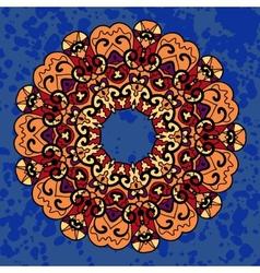 Vintage ethnic ornament mandala on deep blue vector