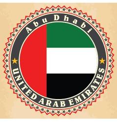 Vintage label cards of United Arab Emirates flag vector image