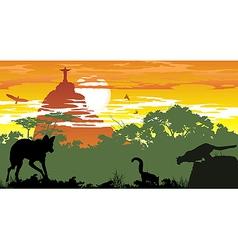 Wild animals of Brazilian woods vector image