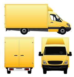 Yellow cargo van - truck vector