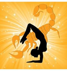 Woman in yoga scorpio asana vector image