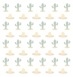 Cactus and sombrero pattern vector
