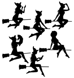 Set of beautiful sexy witch silhouettes vector