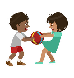 Boy taking away a ball from a girl part of bad vector