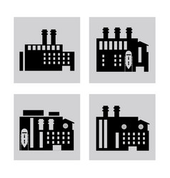 Plant silhouettes building chimney factory icon vector