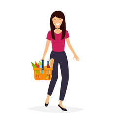 woman holds with basket foods flat design modern vector image
