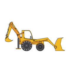 Color image cartoon industrial machine excavator vector