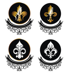 Royal lily icons collection on white vector