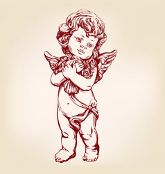 Angel or cupid little baby holds a bouquet of vector