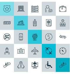 Travel icons set collection of siren cop symbol vector