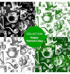 Set of st patricks day seamless patterns vector