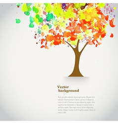 Watercolor autumn tree with spray paint autumnal vector