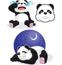 Panda set 2 sleeping crying panda head vector