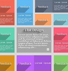 Feedback sign icon set of colored buttons vector