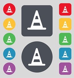 Road cone icon sign a set of 12 colored buttons vector