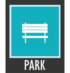 Simple icon for rest bench in park vector