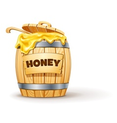 wooden barrel full of honey vector image