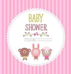 Baby shower invitation card template on pink vector