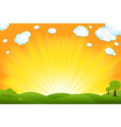 green field and sunrise vector image