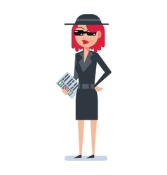 Mystery shopper woman in spy coat vector