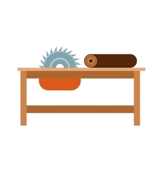 Power-saw bench icon industry tool equipment work vector