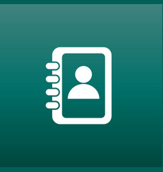 Address book icon contact note flat on green vector