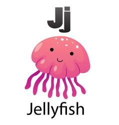 Alphabet j with jellyfish vector