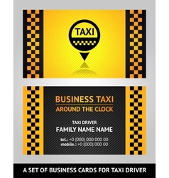 Business cards taxi driver vector image vector image