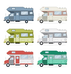 Camping caravan traveler truck collection vector