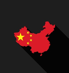 China flag map flat design icon vector