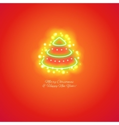 Christmas Tree Icon with Magic Sparkles vector image vector image