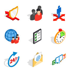 Congregation icons set isometric style vector