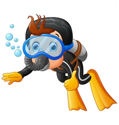 Cute boy snorkeling vector