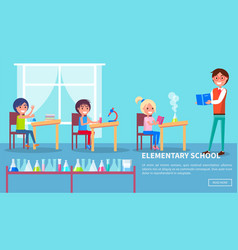 Elementary school class with teacher and pupils vector