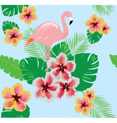 Flamingos flower seamless vector