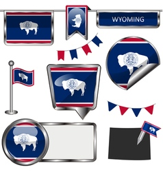 Glossy icons with wyomingite flag vector