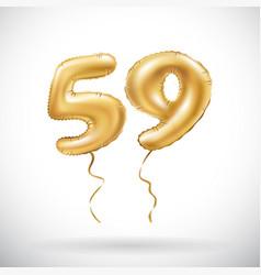 golden number 59 fifty nine metallic balloon vector image vector image
