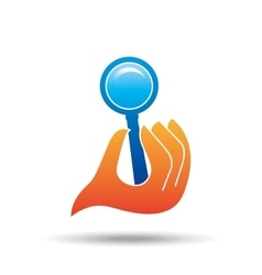 Hand holding search loupe design vector