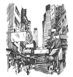 Hong Kong drawing vector image vector image