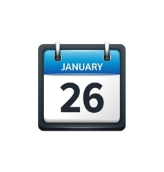 January 26 calendar icon flat vector