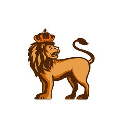 King lion crown looking side retro vector