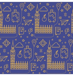 London seamless pattern with big ben vector