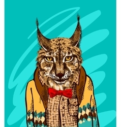Lynx in knitted sweater vector