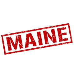 Maine red square stamp vector